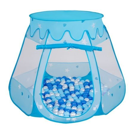 Play Tent Castle House Pop Up Ballpit Shell Plastic Balls For Kids, Blue:Babyblue-Blue-Pearl