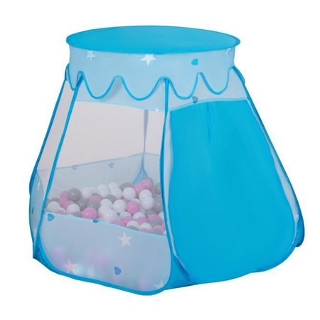 Play Tent Castle House Pop Up Ballpit Shell Plastic Balls For Kids, Blue:Grey-White-Turquoise