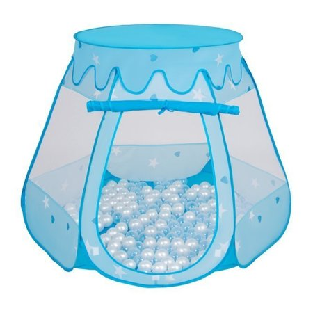 Play Tent Castle House Pop Up Ballpit Shell Plastic Balls For Kids, Blue:Pearl/Transparent