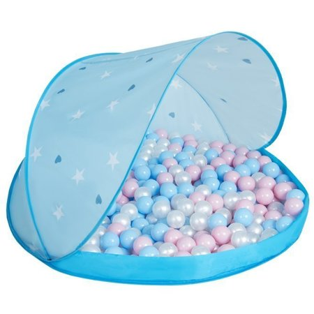 Play Tent Castle House Pop Up Ballpit Shell Plastic Balls For Kids, Blue Shell:Babyblue-Powder Pink-Pearl