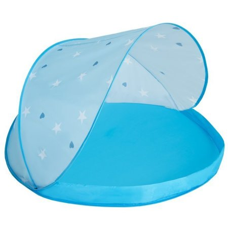 Play Tent Castle House Pop Up Ballpit Shell Plastic Balls For Kids, Blue Shell:Grey-White-Transparent-Babyblue