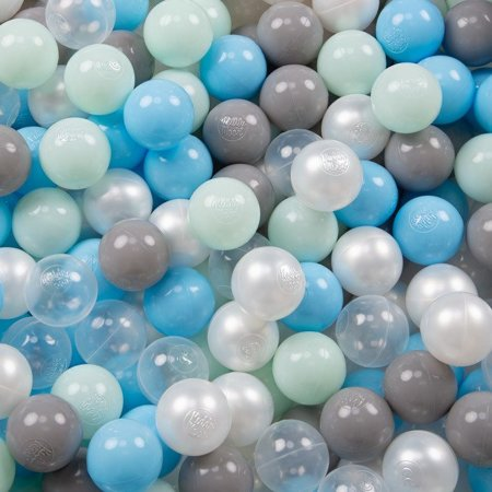Play Tent Castle House Pop Up Ballpit Shell Plastic Balls For Kids, Blue Shell:Pearl-Grey-Transparent-Babyblue-Mint