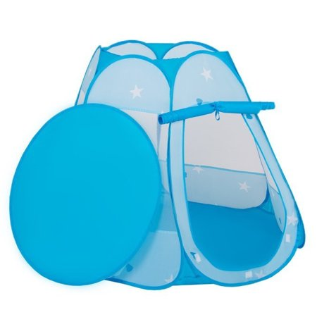 Play Tent Castle House Pop Up Ballpit Shell Plastic Balls For Kids, Blue:Turquoise-Blue-Yellow-Transparent