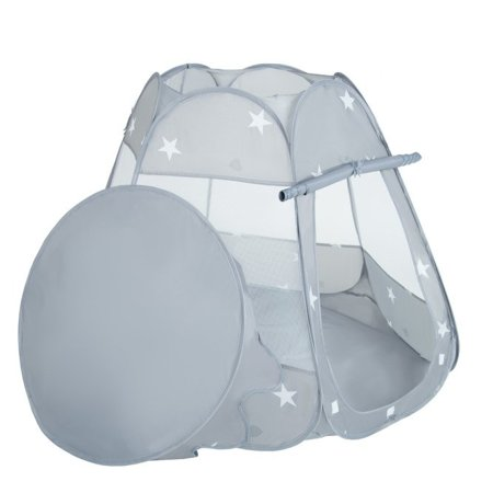 Play Tent Castle House Pop Up Ballpit Shell Plastic Balls For Kids, Grey:Babyblue/Puderrosa/Pearl