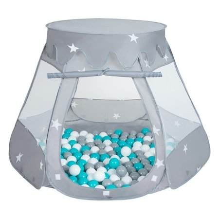 Play Tent Castle House Pop Up Ballpit Shell Plastic Balls For Kids, Grey:Grey-White-Turquoise