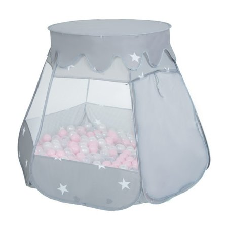 Play Tent Castle House Pop Up Ballpit Shell Plastic Balls For Kids, Grey:Pink:Pearl-Grey-Transparent-Powder Pink