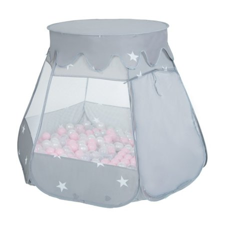 Play Tent Castle House Pop Up Ballpit Shell Plastic Balls For Kids, Grey:White/Grey/Mint