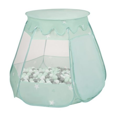 Play Tent Castle House Pop Up Ballpit Shell Plastic Balls For Kids, Mint:Transparent/Grey/White/Pink