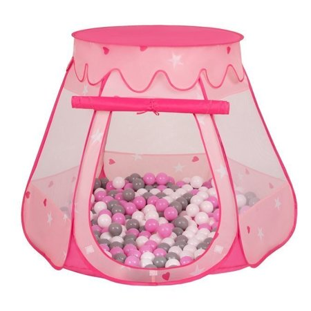 Play Tent Castle House Pop Up Ballpit Shell Plastic Balls For Kids, Pink:Grey-White-Pink