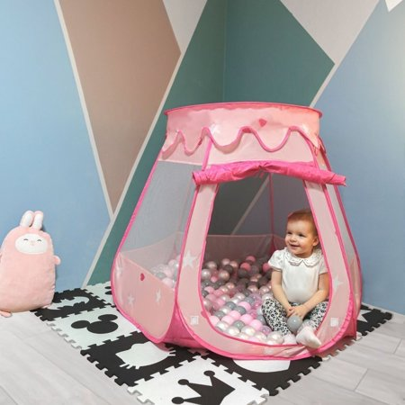 Play Tent Castle House Pop Up Ballpit Shell Plastic Balls For Kids, Pink:Pearl-Grey-Transparent-Powder Pink