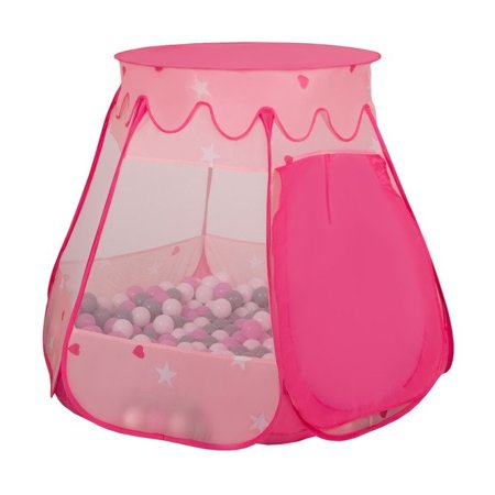 Play Tent Castle House Pop Up Ballpit Shell Plastic Balls For Kids, Pink:Powder Pink-Transparent