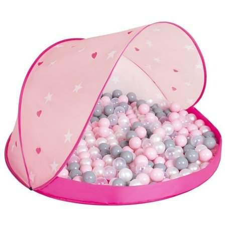 Play Tent Castle House Pop Up Ballpit Shell Plastic Balls For Kids, Pink Shell:Pearl-Grey-Transparent-Powder Pink