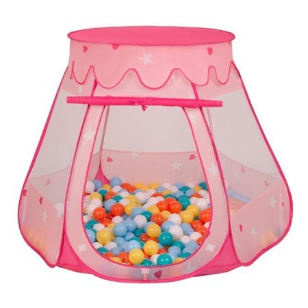 Play Tent Castle House Pop Up Ballpit Shell Plastic Balls For Kids, Pink:White-Yellow-Orange-Babyblue-Turquoise