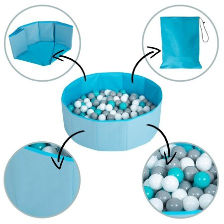 children colourfull foldable ballpit plastic balls, Pink: Babyblue/ Powderpink/ Pearl