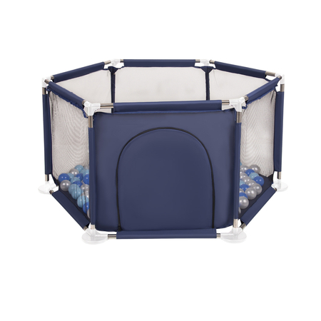 hexagon 6 side play pen with plastic balls, Blue: Babyblue/ Blue/ Pearl