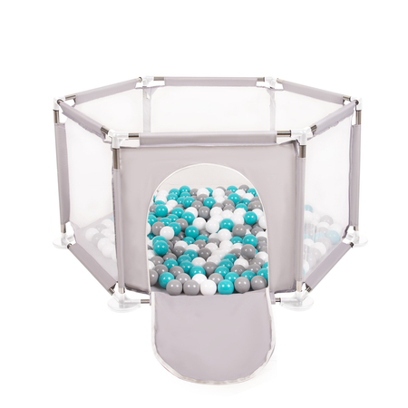 hexagon 6 side play pen with plastic balls, Grey: Grey/ White/ Turquoise