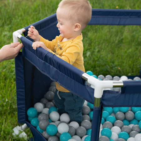 hexagon 6 side play pen with plastic balls, Mint: White/ Grey/ Mint