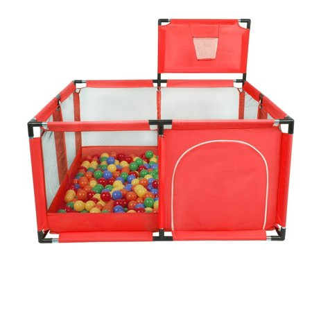 square play pen filed with plastic balls basketball, Red: Yellow/ Green/ Blue/ Red/ Orange