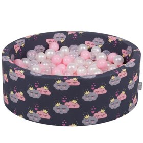 KiddyMoon Baby Ball pit with Balls ∅ 7cm / 2.75in Certified, Clouds-Dark blue: Powderpink/ Pearl/ Transparent
