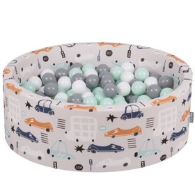 KiddyMoon Baby Ballpit with Balls 7cm /  2.75in Certified Cars, Cars-Beige: White/ Grey/ Mint