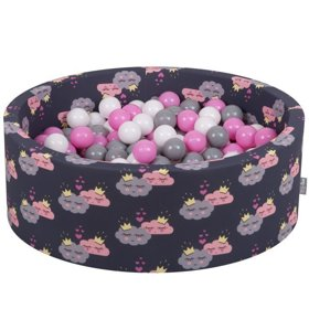 KiddyMoon Baby Ballpit with Balls 7cm /  2.75in Certified, Clouds-Dblue: Grey/ White/ Pink