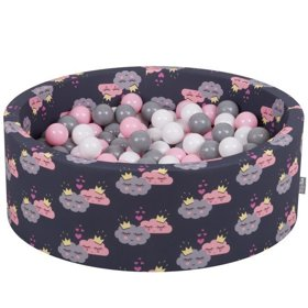 KiddyMoon Baby Ballpit with Balls 7cm / 2.75in Certified, Clouds-Dblue:White/Grey/Powderpink