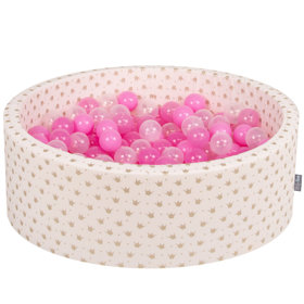 KiddyMoon Baby Ballpit with Balls ∅ 7cm / 2.75in Certified, Crown, Ecru-Gold:Pink/Transp Pink/Transparent