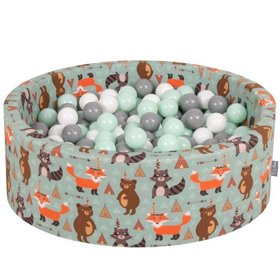 KiddyMoon Baby Ballpit with Balls 7cm / 2.75in Certified, Fox, Fox-Green:White/Grey/Mint