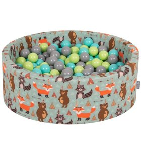 KiddyMoon Baby Ballpit with Balls ∅ 7cm / 2.75in Certified, Foxes: Light Green/ Light Turquoise/ Grey