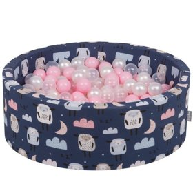 KiddyMoon Baby Ballpit with Balls 7cm /  2.75in Certified, Sheep-Dblue: Powderpink/ Pearl/ Transparent