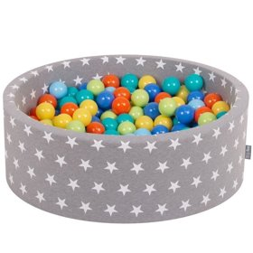 KiddyMoon Baby Ballpit with Balls 7cm /  2.75in Certified, Stars, Grey Stars:  Lt Green/ Orange/ Turq/ Blue/ Bblue/ Yellow