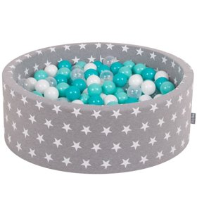 KiddyMoon Baby Ballpit with Balls ∅ 7cm / 2.75in Certified, Stars, Grey Stars: Lt Turquoise/White/Transp/Turquoise