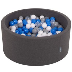 KiddyMoon Baby Foam Ball Pit 90x40 with Balls 7cm/ 2.75in Certified, Dark Grey: Grey/ White/ Blue/ Transparent