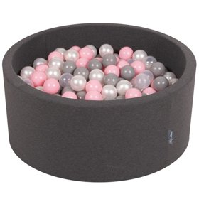 KiddyMoon Baby Foam Ball Pit 90x40 with Balls 7cm/ 2.75in Certified, Dark Grey: Pearl/ Grey/ Transparent/ Powderpink