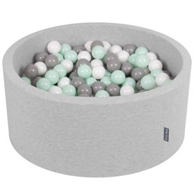 KiddyMoon Baby Foam Ball Pit 90x40 with Balls 7cm/ 2.75in Certified, L Grey: White/ Grey/ Mint