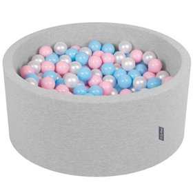 KiddyMoon Baby Foam Ball Pit 90x40 with Balls ∅ 7cm/2.75in Certified, Light Grey:Baby Blue/Light Pink/Pearl
