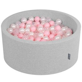 KiddyMoon Baby Foam Ball Pit 90x40 with Balls 7cm/ 2.75in Certified, Light Grey: Light Pink/ Pearl/ Transparent