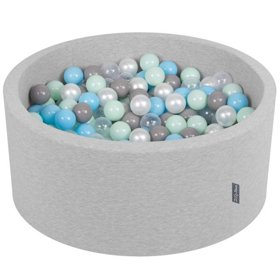 KiddyMoon Baby Foam Ball Pit 90x40 with Balls 7cm/ 2.75in Certified, Light Grey: Pearl/ Grey/ Transparent/ Baby Blue/ Mint