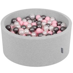 KiddyMoon Baby Foam Ball Pit 90x40 with Balls 7cm/ 2.75in Certified, Light Grey/ Pearl/ Light Pink/ Silver