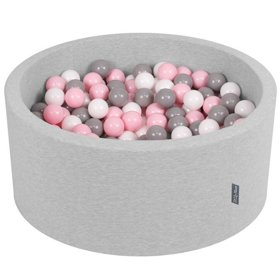 KiddyMoon Baby Foam Ball Pit 90x40 with Balls ∅ 7cm/2.75in Certified, Light Grey:White/Grey/Light Pink
