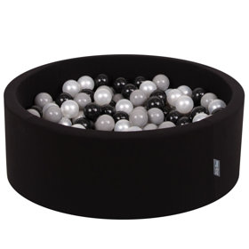 KiddyMoon Baby Foam Ball Pit with Balls 7cm / 2.75in Certified, Black:Black/Grey/Pearl
