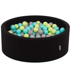 KiddyMoon Baby Foam Ball Pit with Balls ∅ 7cm / 2.75in Certified, Black:Light Green/Light Turquoise/Grey