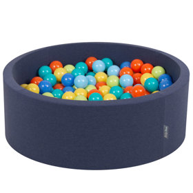 KiddyMoon Baby Foam Ball Pit with Balls 7cm /  2.75in Certified, D.Blue: L.Green/ Orange/ Turquois/ Blue/ Babyblue/ Yellw