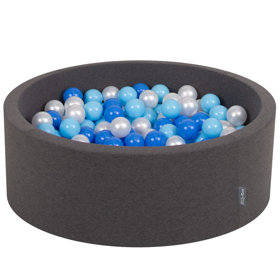 KiddyMoon Baby Foam Ball Pit with Balls ∅ 7cm / 2.75in Certified, Dark Grey: Baby Blue-Blue-Pearl