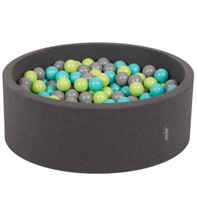 KiddyMoon Baby Foam Ball Pit with Balls 7cm /  2.75in Certified, Dark Grey: Light Green/ Light Turquoise/ Grey