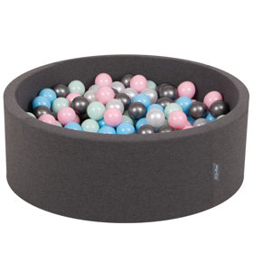 KiddyMoon Baby Foam Ball Pit with Balls 7cm /  2.75in Certified, Dark Grey: Pearl/ Light Pink/ Baby Blue/ Mint/ Silver