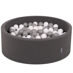 KiddyMoon Baby Foam Ball Pit with Balls ∅ 7cm / 2.75in Certified, Dark Grey:White/Grey
