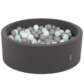 KiddyMoon Baby Foam Ball Pit with Balls 7cm / 2.75in Certified, Dark Grey:White/Grey/Mint