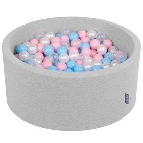 KiddyMoon Baby Foam Ball Pit with Balls ∅ 7cm / 2.75in Certified, Light Grey:Baby Blue/Light Pink/Pearl/Transparent