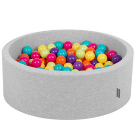 KiddyMoon Baby Foam Ball Pit with Balls ∅ 7cm / 2.75in Certified, Light Grey: Light Green/ Yellow/ Turquoise/ Orange/ Dark Pink/ Purple